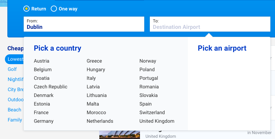ryanair destinations