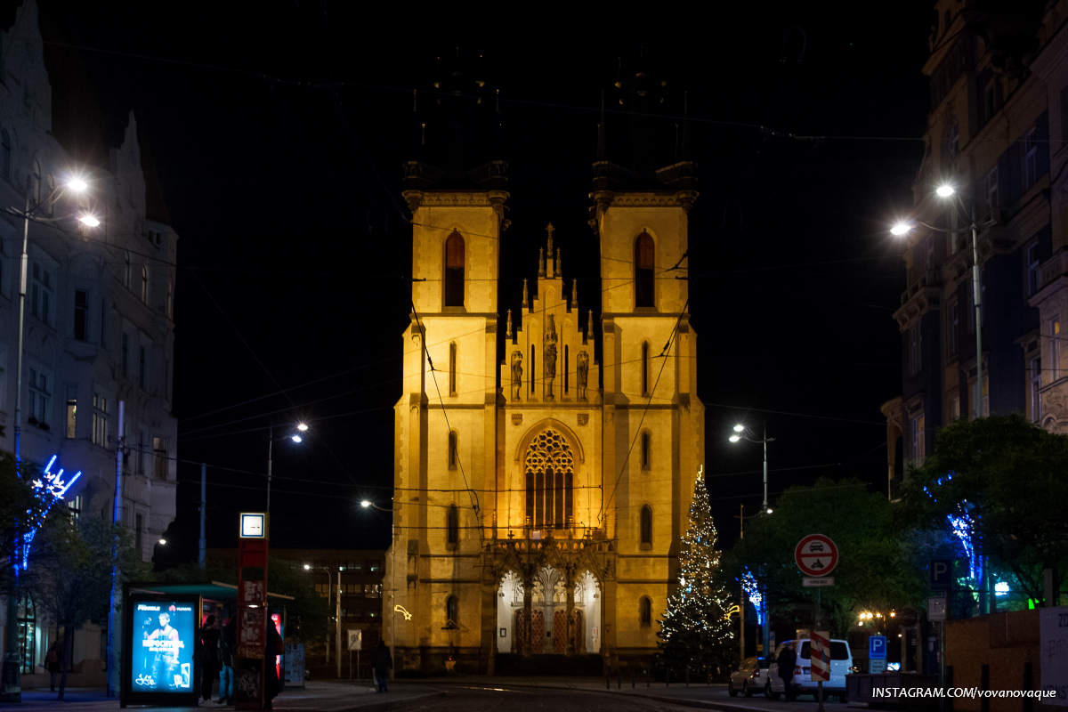 Church in Prague at night