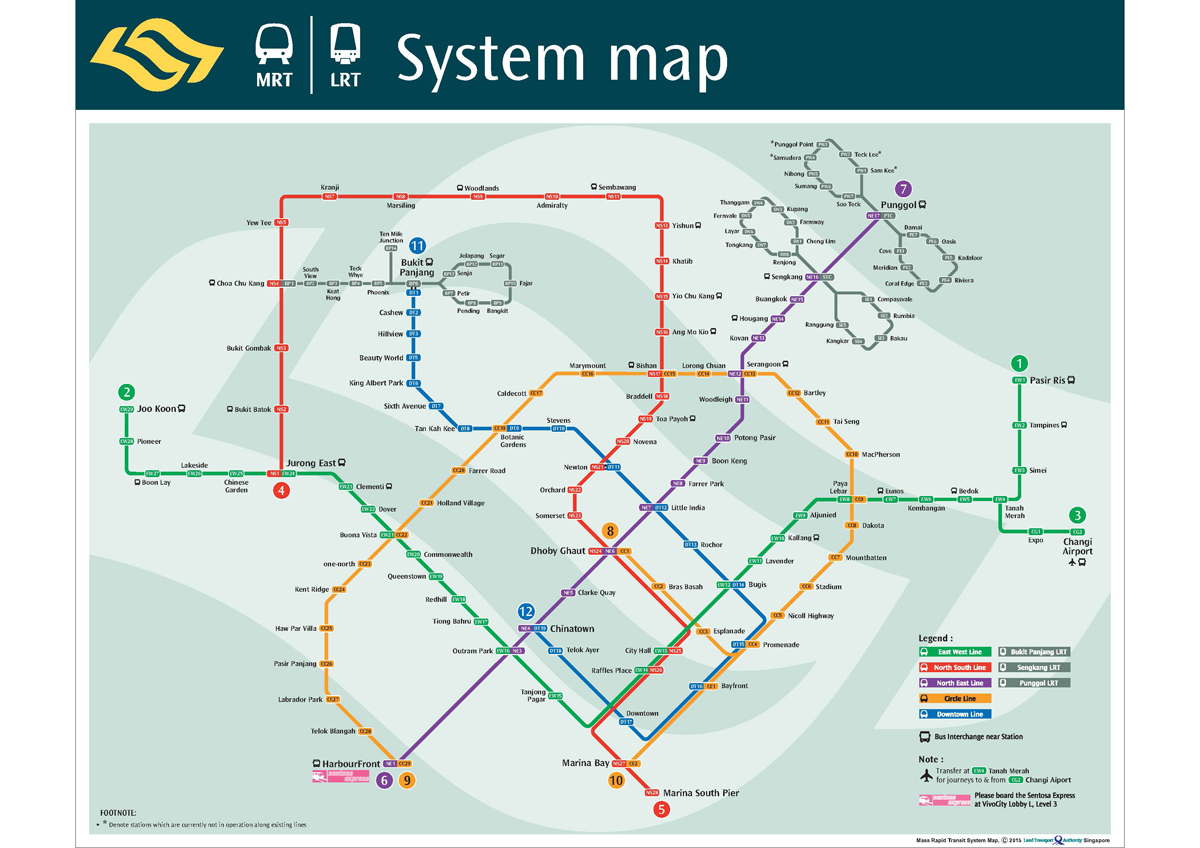 MRT in Singapore Map of stations