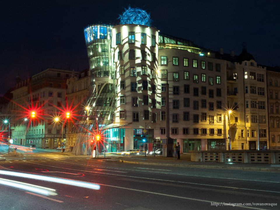 Night photos of the dancing house in Prague
