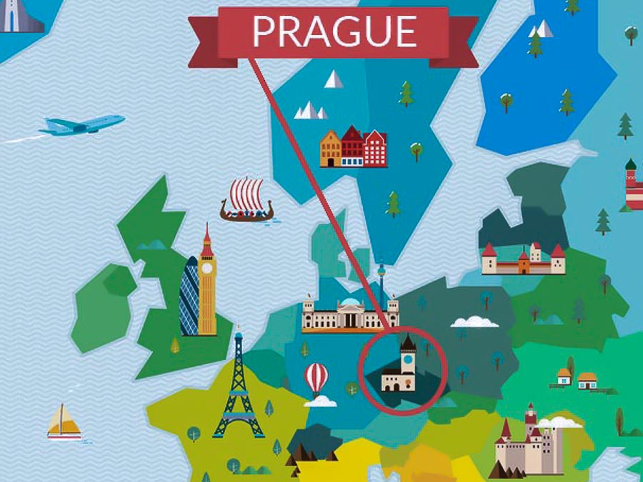 Prague in the map of Europe