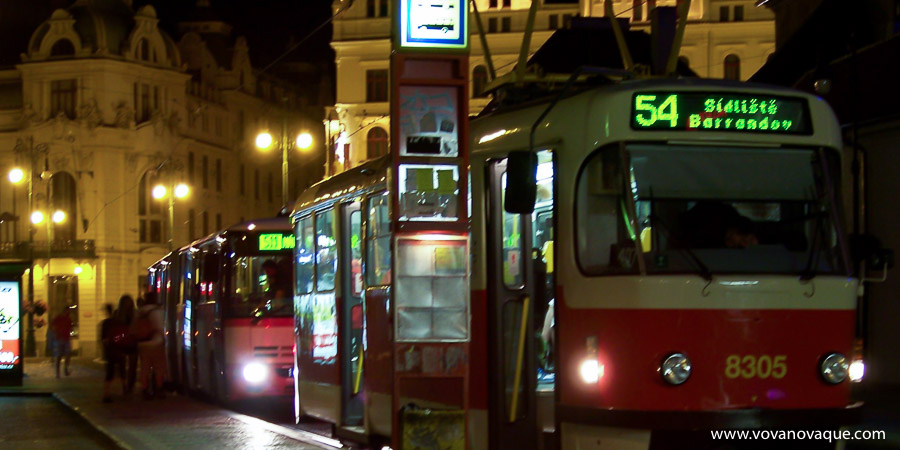 Night Bus in Prague