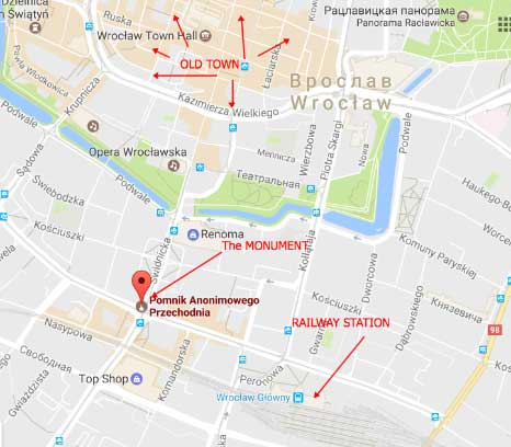 How to find pedestrian monument in Wroclaw