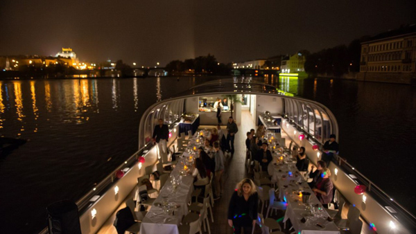 dinner on a boat cruise in Prague