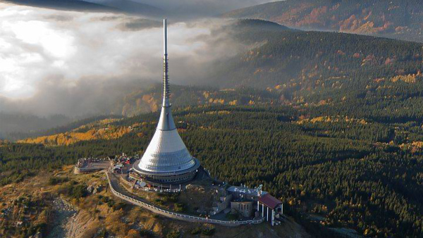 Liberec TV tower and mountain hotel Jested